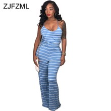 fc7dbbd305f ZJFZML Blue White Striped Sexy Sling Romper Women Spaghetti Strap  Sleeveless One Piece Overall Summer Backless Wide Leg Jumpsuit