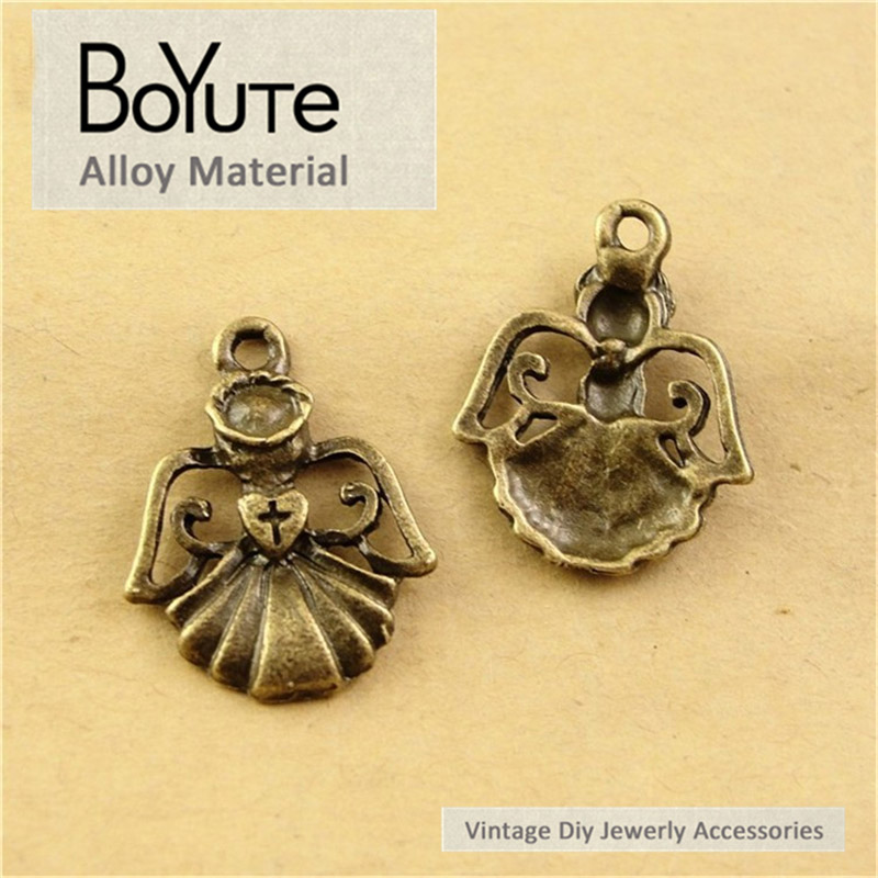 BoYuTe (100 PiecesLot) 22*17MM Antique Bronze Plated Alloy Angel Pendant Charms for Jewelry Findings Components Diy Bracelets