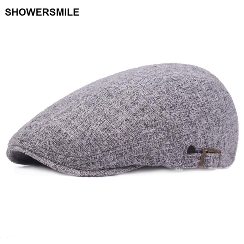 672e7a4ec2703 SHOWERSMILE Unisex Navy Blue Beret Cap Wool Beret Hats Men Winter Thick Warm  Fitted Hats Male ...