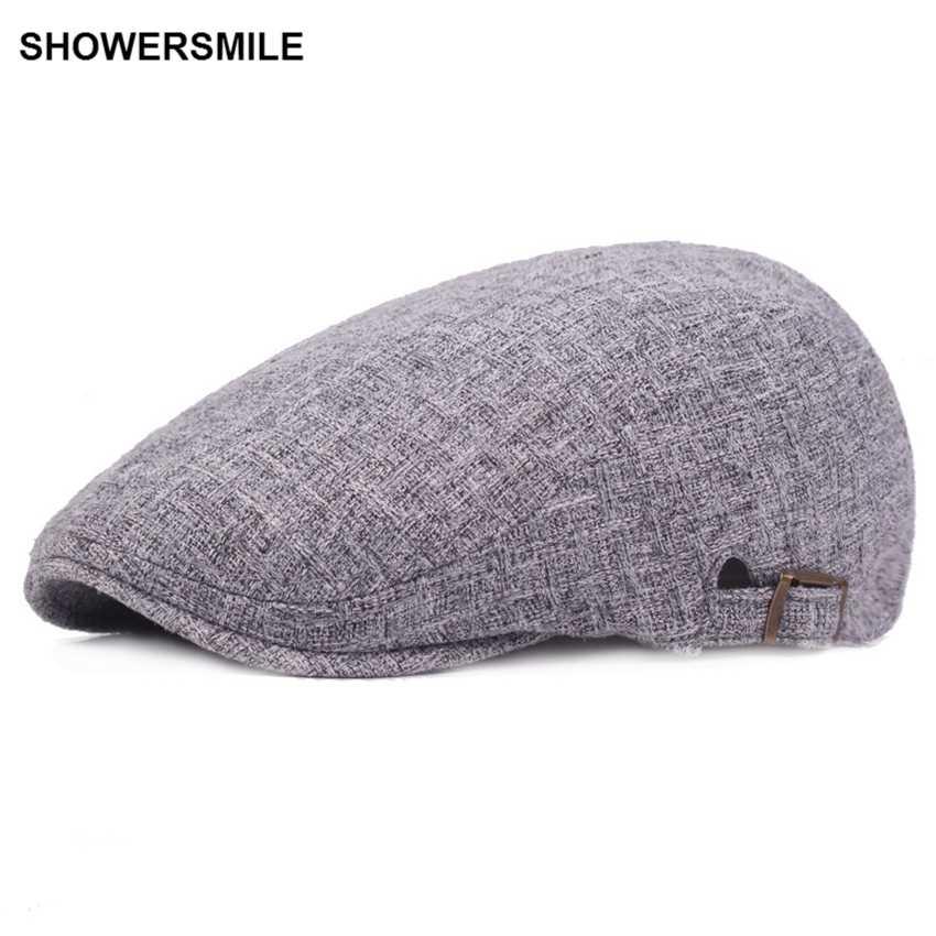 Showersmile бренд темно-синий льняная плоская кепка британская Повседневная Осенняя мужская кепка s берет для женщин Винтажная французская Кепка и Кепка s Chapeau