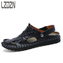 Mens 2017 new leather, beach sandals, summer slippers, middle-aged men shoes, hole support Dad, old people