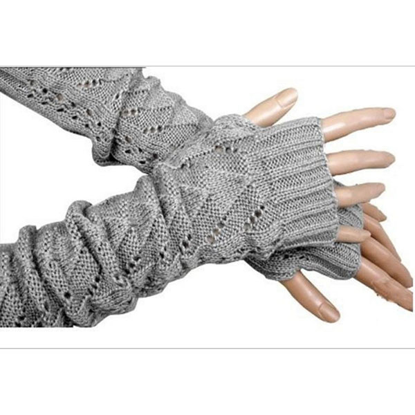 1Pair Women Winter Long Gloves Knitted Fingerless Gloves Half Hollow Arm Sleeves Guantes Mujer AIC88
