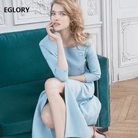 New Celebrity Inspired Party Formal Dress 2018 Autum Office Women O Neck Solid Blue Black Work Dress Female Vestidos De Novia
