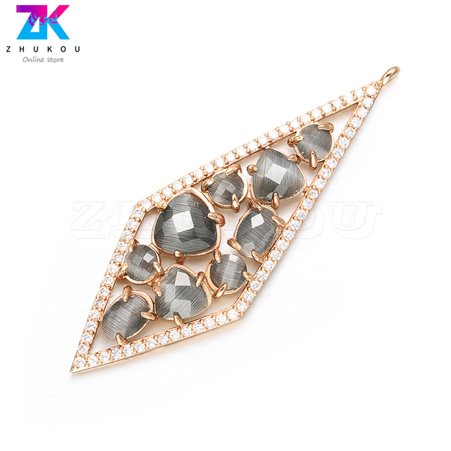 ZHUKOU 20x56mm DIY handmade Diamond Earrings Pendant Bracelets&Necklace Jewelry Accessories Necklace charms Jewelry Making VD385 1