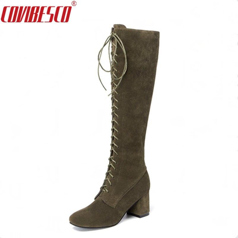 COVIBESCO Women Thigh High Boots Knee High Autumn Winter Women Shoes Sexy Cross-tied High Knight Boots Botas Mujer Femininas цены онлайн