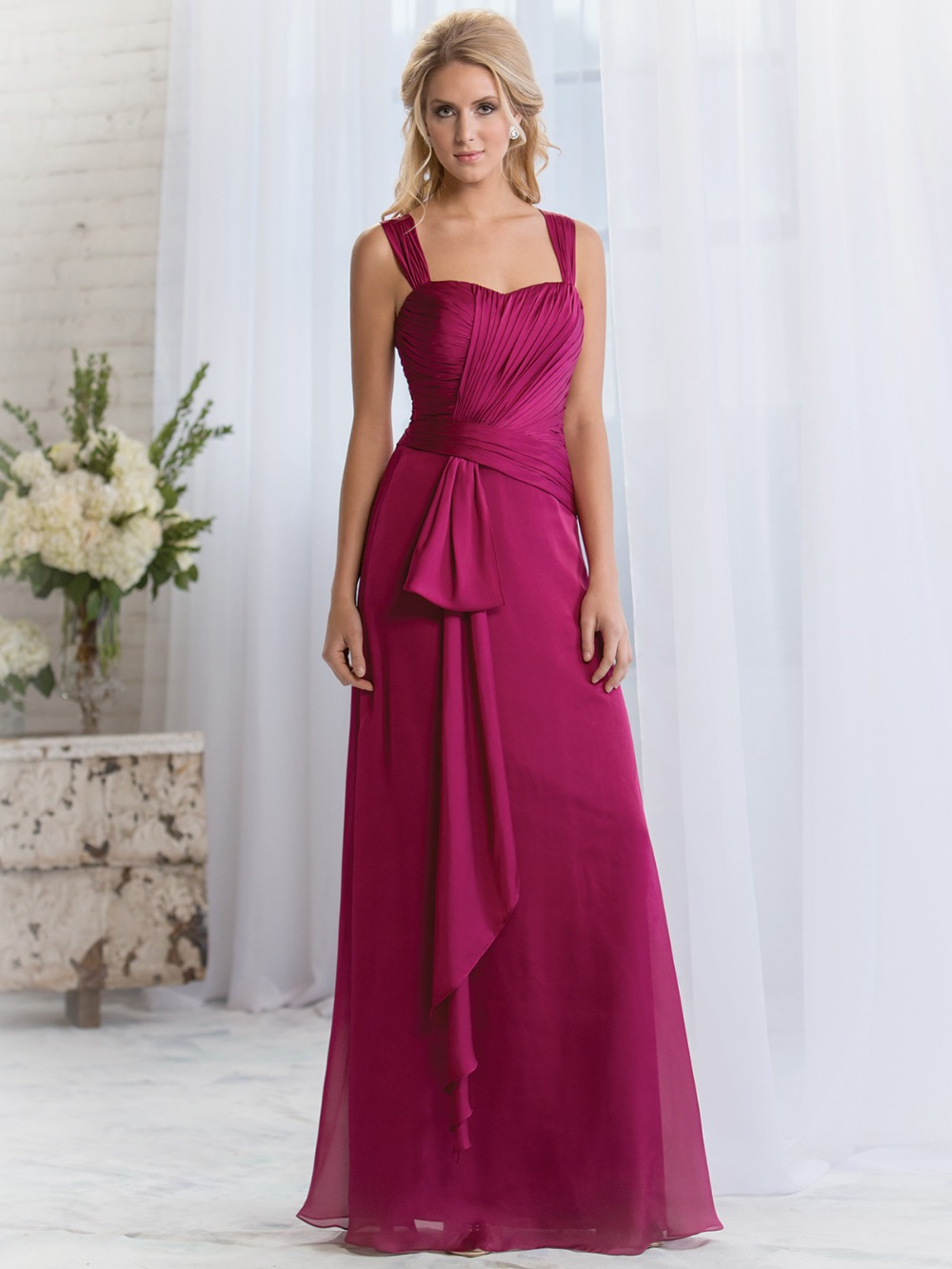 Fashionable simple long fuchsia bridesmaid dresses wide straps fashionable simple long fuchsia bridesmaid dresses wide straps pleated party dress for wedding vestido madrinha longo xhb10 in bridesmaid dresses from ombrellifo Image collections
