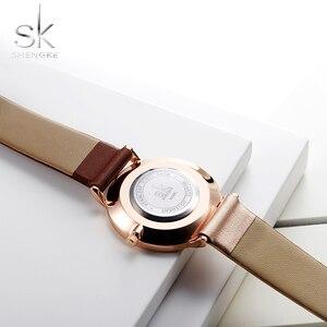 Image 5 - Часы наручные Shengke женские с кожаным ремешком, модные асимметричные, в винтажном стиле