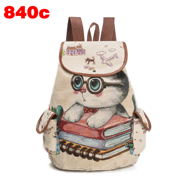High Quality Women Cute Cat Printed Shoulder Bag Canvas Travel Ladies Casual Backpack Teenager Girls School Bags Big Capacity рюкзак manbags korean fashion canvas shoulder teenager backpack travel bag