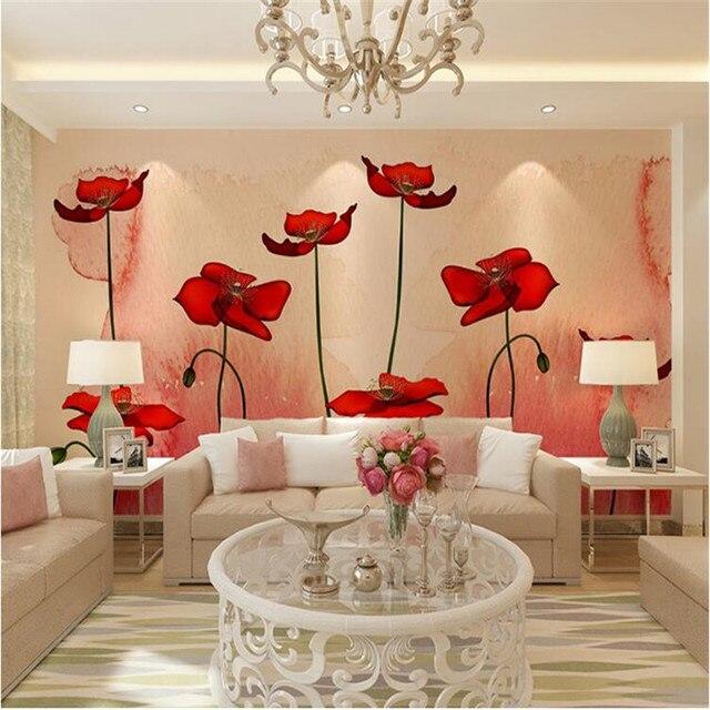 Décor à La Maison Papier Peint Pour Salon Rouge Fleur Peinture À Lu0027huile  Peinture