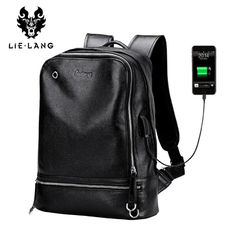 LIELANG Backpack Men 2018 Genuine Leather Mochila USB Charge Laptop Backpacks Anti-theft Backpack Tourist Boys Shoulder Bag lielang men pu leather backpack waterproof large capacity 14 inch laptop bag usb charge camouflage backpack bag mochila rucksack