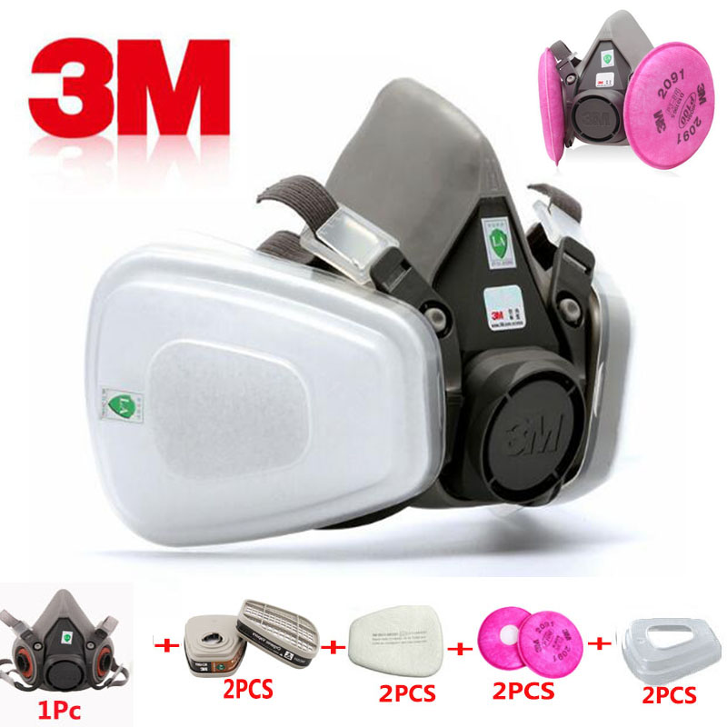 9 In 1 3M 6200 Industry Half Face Paint Spray Gas Mask Respirator Protective Safety Work Dust Proof Respirator Mask With Filter 9 in 1 suit gas mask half face respirator painting spraying for 3 m 7502 n95 6001cn dust gas mask respirator