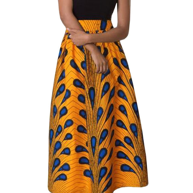 a0fb2a57c3 2018 Maxi Skirt Women Jupe Longue High Waist Vintage Long Skirt Elastic  African Peacock Print Slim Pleated Women Skirts Falda
