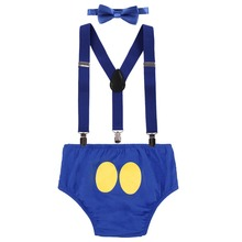 4pcs Set Donald Duck Cake Smash Outfit Boy Girl Baby Birthday Suspender Shorts Bow Tie headband Photo Prop Clothes