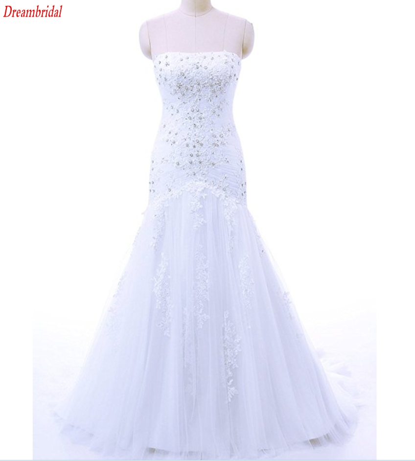 Dreambridal The latest in-kind pictures Elegant Strapless Applique seam bead Tulle Mermaid Bridal Wedding Dress