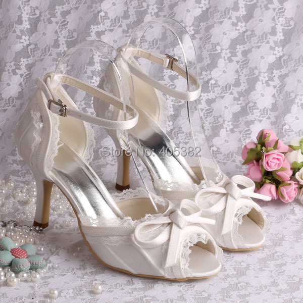 Wedopus Custom Handmade Ivory Lace Peep Toe Bridal Shoes Wedding Sandals Ladies 20 colors wedopus custom handmade large size bow bridal shoes ivory low heel peep toe