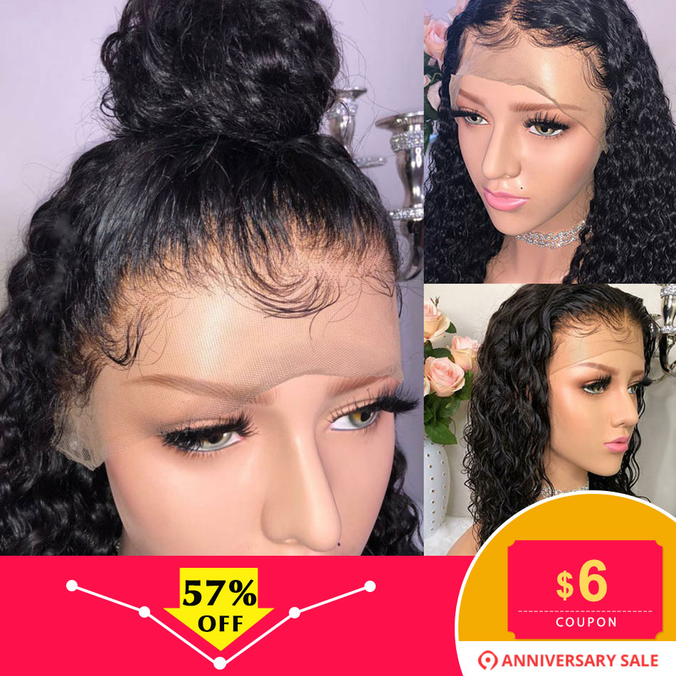 ALIBELE HAIR Malaysian Deep Curly Human Hair Wig For Black Women 130 Density Short and Long Remy Human 13x4 Lace Front Wig(China)