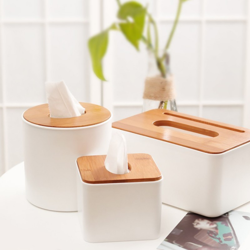 paper wooden cover tissue box Square Shape Wooden Plastic Tissue Box Case Home Kitchen Paper Holdler