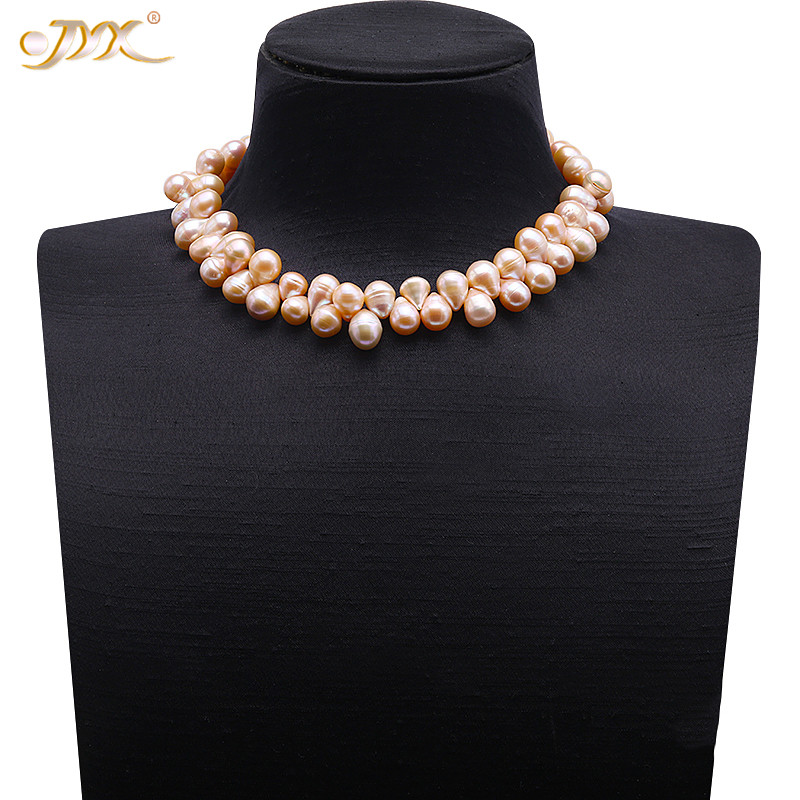 JYX Special 10-10.5mm Pink Drop-shaped Baroque Freshwater Pearl Necklace 17 InchesJYX Special 10-10.5mm Pink Drop-shaped Baroque Freshwater Pearl Necklace 17 Inches