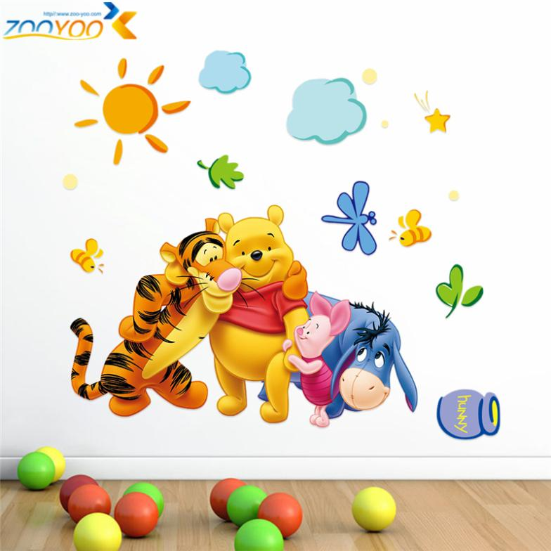 winnie the pooh friends decals wall for kids sticker room decorative diy adesivos de paredes decals movie cartoon 2006.