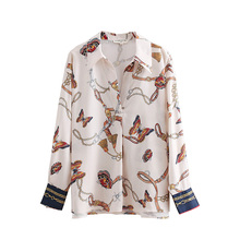 2018 women vintage chain butterfly printing casual kimono blouses shirt women autumn chic blusas roupas femininas tops LS2669(China)