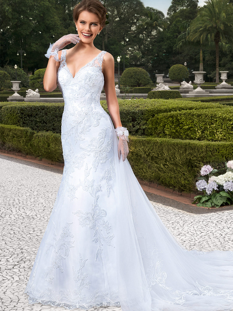Elegant Mermaid Wedding Dresses Lace Trumpet Wedding Dresses 2016 V ...