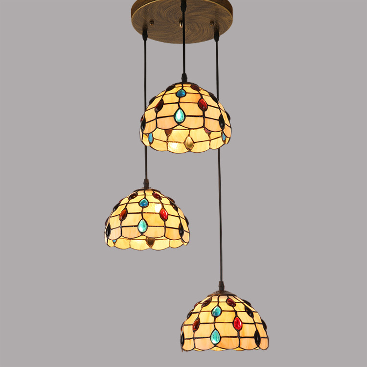 где купить Tiffany restaurant Pendant Lights with 3 head entrance balcony aisle Mediterranean Tiffany art lamps one generation DF117 по лучшей цене