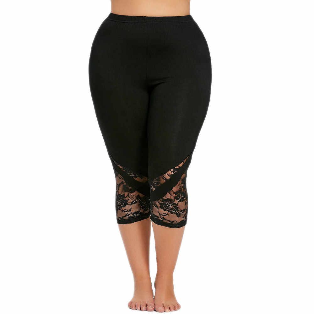 Ghette delle donne Più Il Formato Pannello in Pizzo Sexy Criss Cross di Alta Elastico In Vita Leggings Femminili di Allenamento Pantaloni di Estate di Sport Pantaloni #5 $