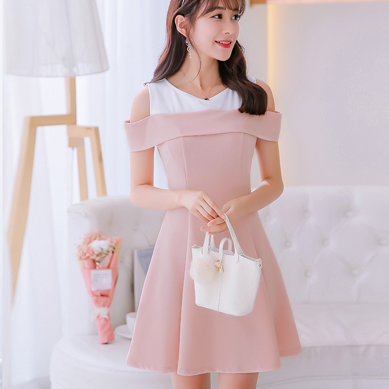 ee06c411918 2019 Spring Summer Women Dress New Large size Sexy Korean Version Pink Dress  Female Fashion Thin