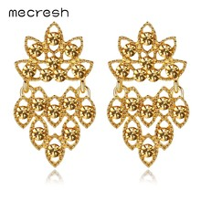 Mecresh Statement Gold Color Crystal Bridal Drop Earrings Fashion Rhinestone Women Dangle Earrings Wedding Accessories EH1222(China)