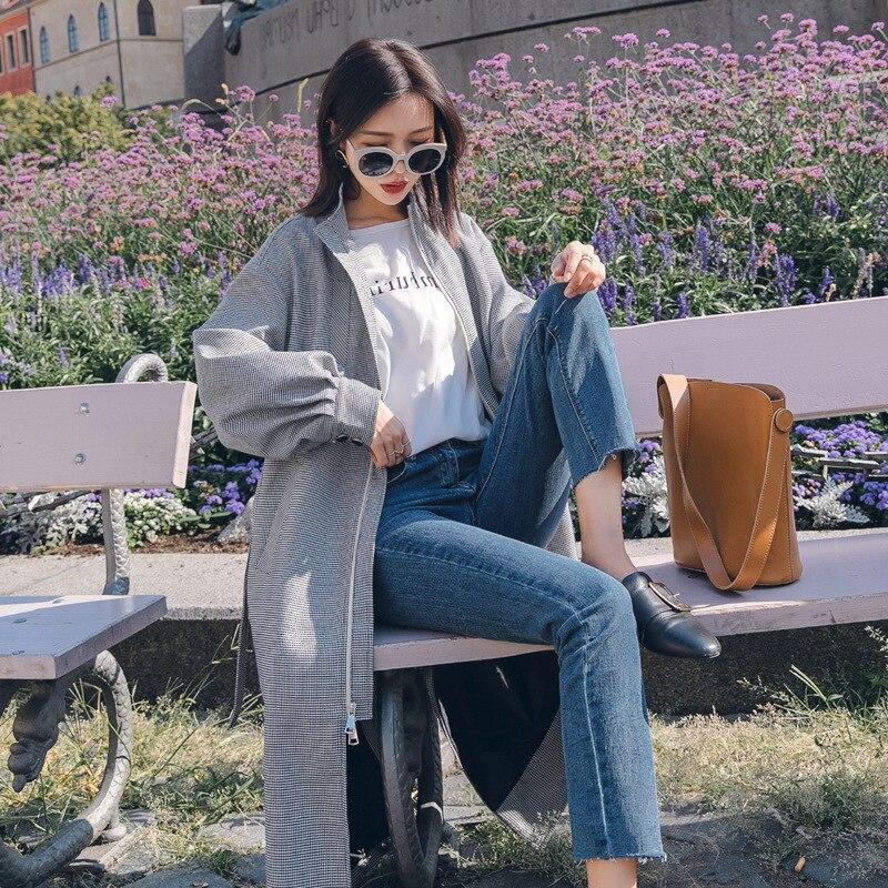 Lâche Pour Nouvelle Black Plaid White Femmes De Mujer Trench Mode Long Blanc Trench Gabardina Printemps coats coat Noir Manteau Femme 2019 xC0PHwXqBf