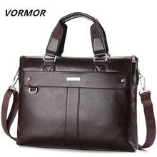 a46e9857ece1 VORMOR 2019 Men Casual Briefcase Business Shoulder Bag Leather Messenger  Bags Computer Laptop Handbag Bag Men s