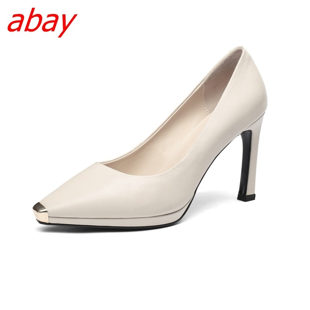 abay Fashion Lady Single shoe An office girl Middle heel dermis Retro style  Professional women Latest Comfortable heel shoes f118498dccc