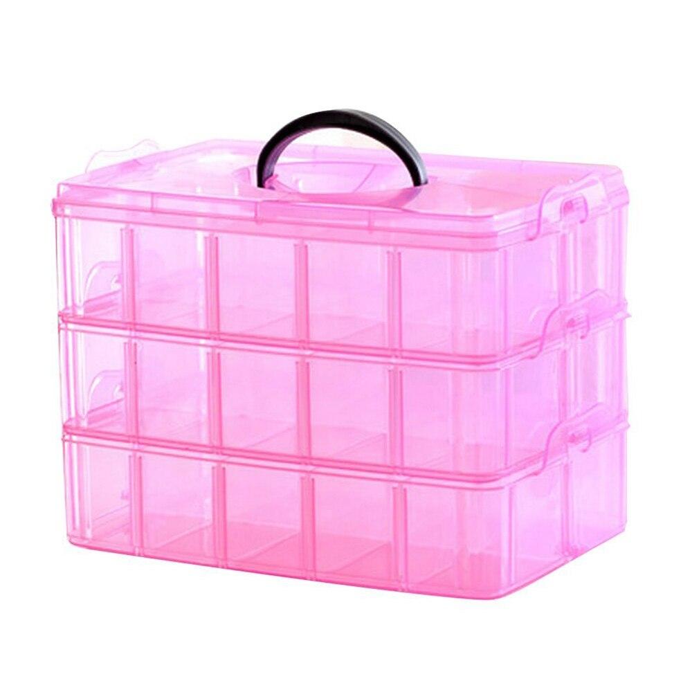 3 Слои Портативный Пластик Дизайн ногтей Макияж контейнера Маникюр хранения Коробки (разные цвета)