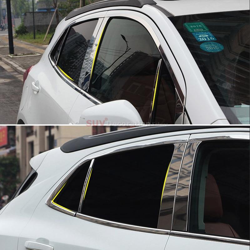 24pcs Accessories Whole Kit Window Sill Middle Pillars Guard Trims for Opel Mokka / Vauxhall Mokka / Buick Encore 2013-2017 lsrtw2017 304 stainless steel car window trims for opel mokka buick encore bitter mokka 2013 2014 2015 2016 2017 2018 vauxhall