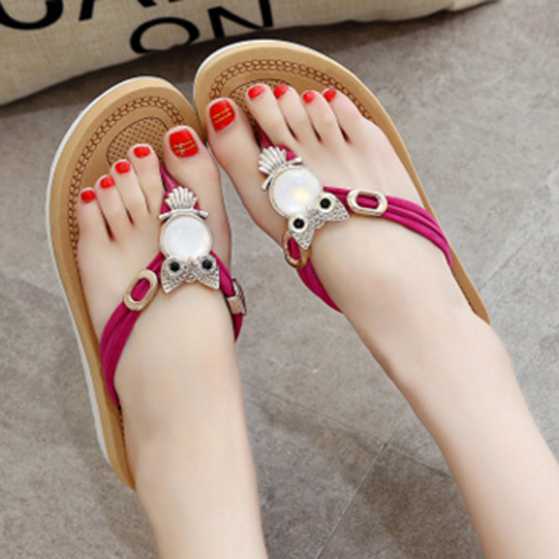 160ace31ca3568 Fashion Owl Crystal Sandals For Women Slippers Flats Shoes Bohemian Summer  Beach Sandals T-Tied Flip Flops Female Sandals Sides - aliexpress.com -  imall.com