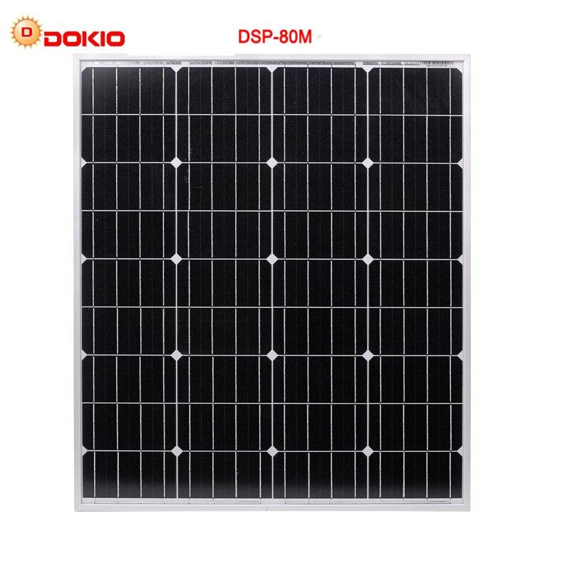 DOKIO Marque 80 w 18 Volt Noir Panneau Solaire Chine + 10A 12/24 Volts usb Contrôleur 80 Watt Panneaux Solaire assurance de la qualité