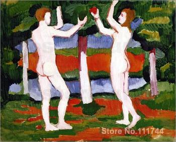 modern wall art Adam and Eve August Macke canvas paintings High quality Hand painted