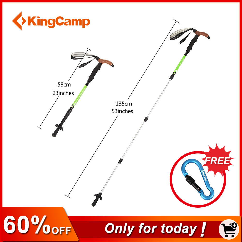 KingCamp 2pcs 4-section Anti Shock Cork T-handle Walking Stick Aluminum Hiking Walking Trekking Pole Telescopic Walking Canes 4 section telescopic mountaineering pole stick with 9 led lights compass 4 x ag13 110cm length