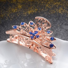 Fashion Gold Color Metal Hair Jewelry Top Rhinestone Crystal Flowers Claws Wedding Accessories Big Crab Clip Gift