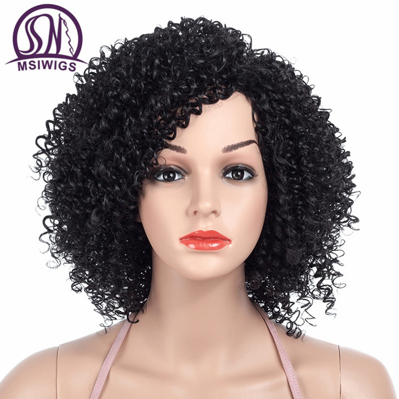 MSIWIGS 1b Black Afro Curly Wigs For Women Side Part Synthetic Short Hair Wig Heat Resistant America Hair