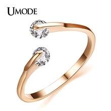 UMODE, модное обручальное кольцо из розового золота/родия, два камня, ювелирные изделия для женщин с AAA CZ AJR0013