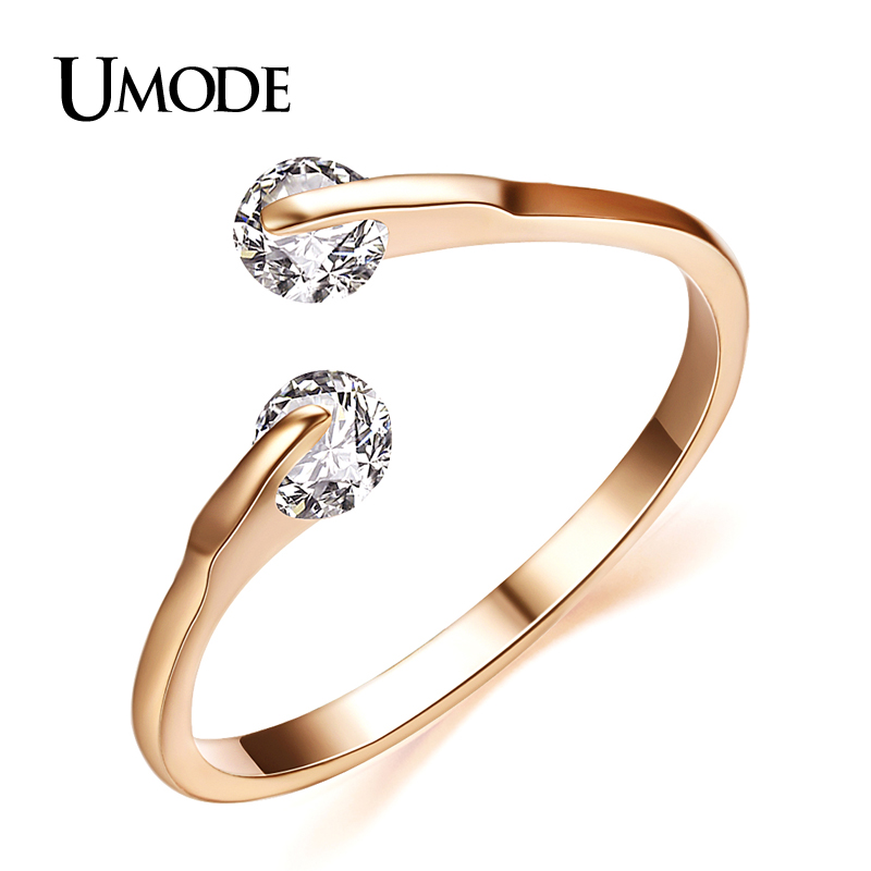 UMODE Fashion Bypass Ring Rose Gold / Rhodium plated Two Stone Wedding Rings Jewelry For Women With AAA CZ  AJR0013