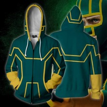 3d Print Moive Kick Ass Dave Lizewski Sweatshirts Hoodie Cosplay Costume Jackets Men Top Coat Zipper Casual Hoded