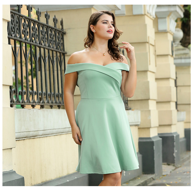 Women s Plus Size Knitted Party Dress Mint Green Black Spring Summer Off  Shoulder A line Cocktail Formal Short Gown Shawls-in Dresses from Women s  Clothing ... bd2809a0e5e0