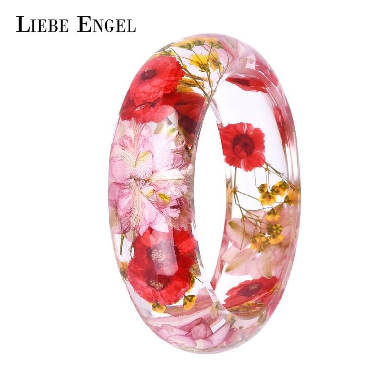 LIEBE ENGEL Dried Flower Resin Bracelet Bangle Real Flower Inside Of Cuff Bracelet Jewelry Best Gifts For Women And Friends