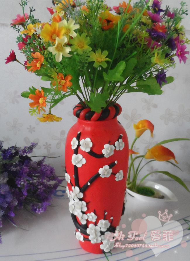 Birthday Wedding Gift New House Painted Ceramic Pottery Clay Flower