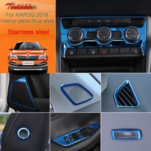 Tonlinker Cover Stickers for SKODA KAROQ 2017-18 Car Styling 1-4 PCS Stainless steel Interior parts Blue Style Sticker