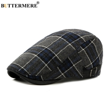 BUTTERMERE Navy Blue Plaid Flat Caps Mens Casual Winter Classic Hat For Women Autumn Fashion 2019 Wool Tweed Cap And Hats