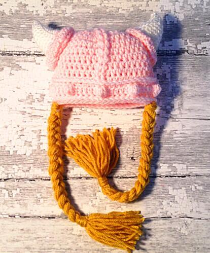 Niñas ganchillo del sombrero de Viking, recién nacidos hasta adultos ...