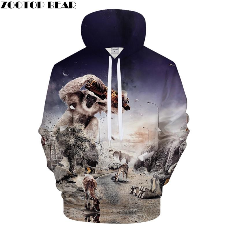 Funny Hoodies Men Animal Hoody 3D Orangutan hoodie Streatwear Sweatshirt Anime Tracksuit Pullover Coat Cow Drop ship ZOOTOPBEAR